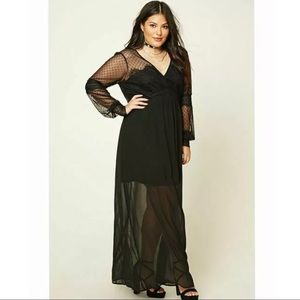 Forever 21+ Black Long-sleeved Lace Maxi Dress
